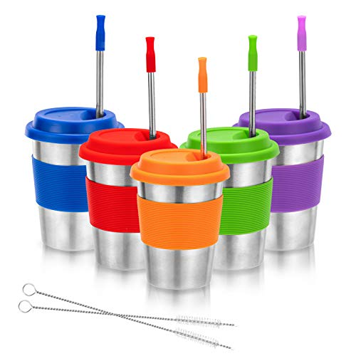 Kids Stainless Steel Cups, Metal Drinking Glasses with Silicone Lids &Sleeves& Straws, Perfect for Indoor and Outdoor Activities of Children and Adults by Dorihom(5 Pack 12 oz)