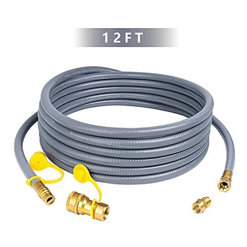 Calentador de Patio Calefactor VQQ 12FT Manguera de gas natural de 3/8 pulgadas de gas natural de desconexión rápida del kit para la parrilla, la plancha, el fogata, el calentador de patio y el aparat