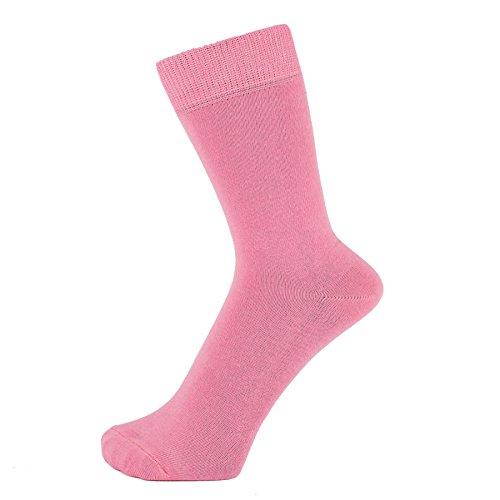 ZAKIRA Elegante Einfarbige Socken aus Feinster Gekämmter Baumwolle in Lebendigen Farben für Damen und Herren (Rosa, 39-45)
