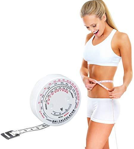 Cinta métrica grasa, calibrador de grasa corporal Set Tester Probador Calipers Índice de masa corporal Medición de grasa redonda Retráctil Fitness Cinta métrica para el cuerpo