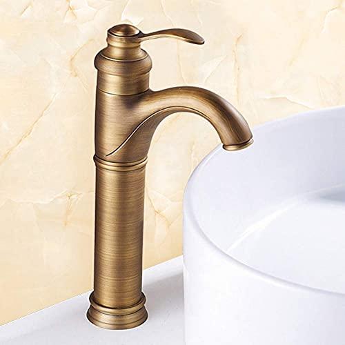 Grifos de lavabo Grifo de lavabo de baño de cobre y bronce antiguo Manija única para grifo de agua fría y caliente