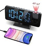 Despertador Proyector, con Función de Radio FM, Pantalla de Espejo LED de 7', Brillo de 4 Niveles, Carga USB, Proyección nítida y fácil de Usar, Utilizado en la Oficina en casa, Dormitorio