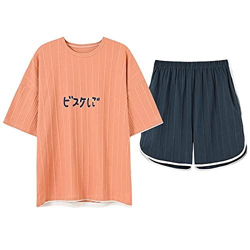 XFLOWR Camicia da Notte Loungewear Estate Pigiama Per Le Donne Pigiameria A Maglia Cotone Homewear Manica Corta Girocollo Casual Morbido Dolce Grande Formato M HBN1631