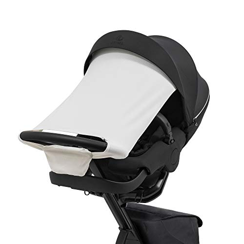 Stokke Xplory X Sun Shade, Light Grey - Protects Baby from Direct Sunlight - Lightweight, Easy to Attach to Stroller - Made with Water-Repellent Materials & UPF 50+ Fabrics