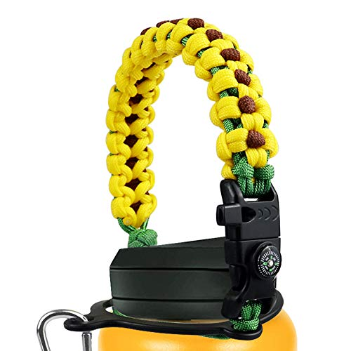 Mity rain Paracord Handle Compatible with Hydro Flask Wide Mouth Water Bottle 12-64oz/Survival Strap Cord with Safety Ring, Carabiner and Compass for Hiking Camping Walking