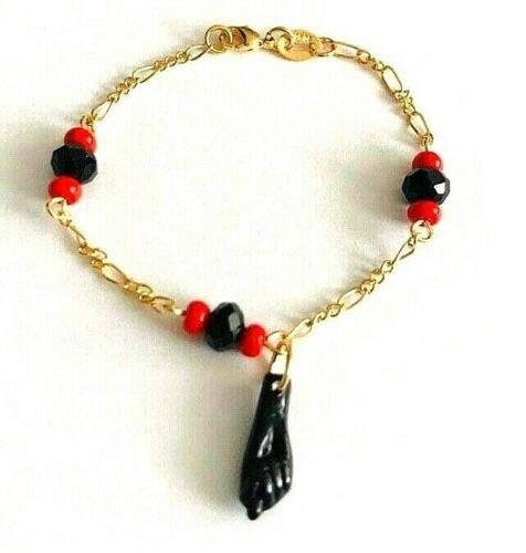 SKEMIX 18k Gold Filled Azabache Baby Bracelet 5.75' - Pulsera Mano de...
