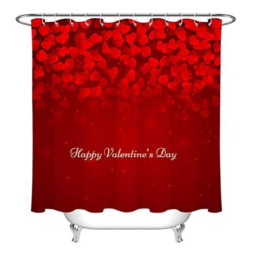 /N Rotes Herz Happy Valentine Duschvorhang Badezimmer Wasserdicht & Umweltschutz HD abnehmbare Duschvorhang