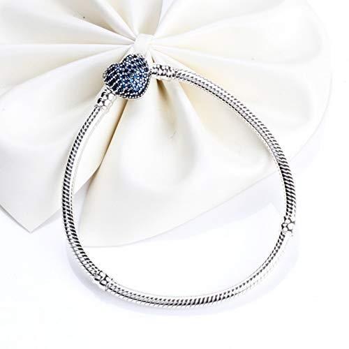 JJCDKL 16cm 925 Sterling Silber Moments Armbänder Pflaster Herz Verschluss Fit Original Pan Armbänder für Frauen DIY Schmuck