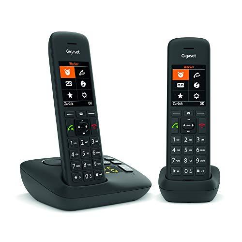 Gigaset C575A DUO DECT- Schnurlostelefon mit Anrufbeantworter für komfortables Telefonieren Made in Germany - mit großer Nummernanzeige, Farbdisplay und leichter Bedienbarkeit, schwarz