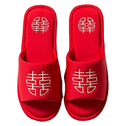 Youpin Pantuflas de estilo chino para bodas, casas y parejas, con bordado rojo afortunado, de algodón, para mujer, zapatos planos para interior y mujer, (color: rojo, tamaño del zapato: 44)