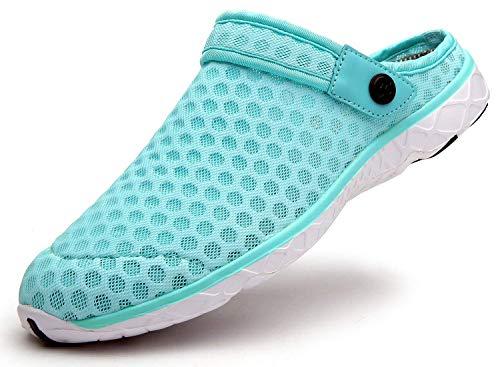 Zuecos Hombres Mujeres Unisex Zapatillas de Playa Sandalias Piscina Vernano Zapatos de Jardín Respirable Malla Casual Pantuflas - E Lago Verde, 39 EU