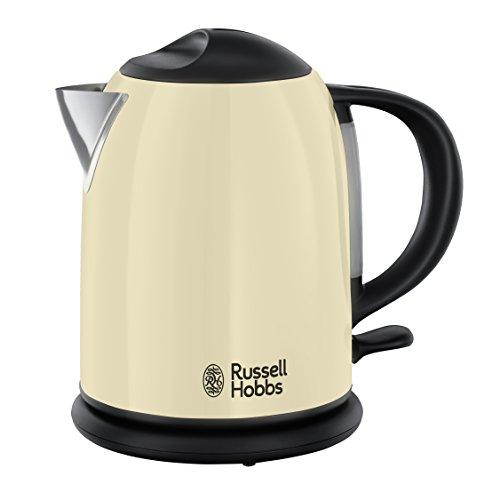 Russell Hobbs Kompakt-Wasserkocher Colours+ Creme, 1,0l, 2200W, Schnellkochfunktion, optimierte Ausgusstülle, Wasserstandsanzeige, kleiner Reisewasserkocher, mini Teekocher 20194-70