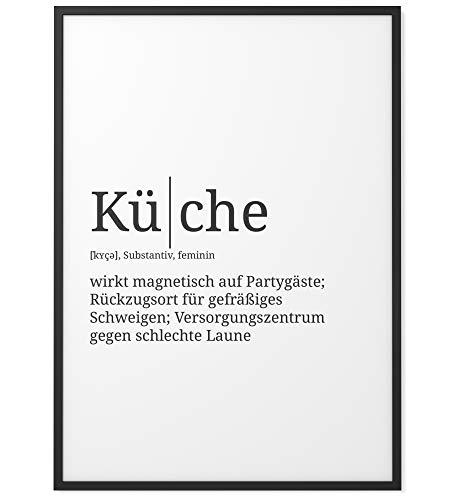 Papierschmiede Definition: Küche | DIN A4 fertig im Rahmen | Poster mit Worterklärungen wie im Duden für Deine Wanddeko | Kunstdruck im schwarzen Holzrahmen