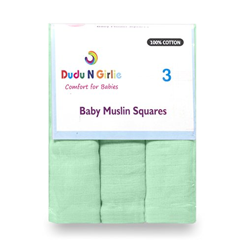 Dudu N Girlie 100% algodón Baby Muslin Squares, 3 Piezas, Menta B005UQQ5BM