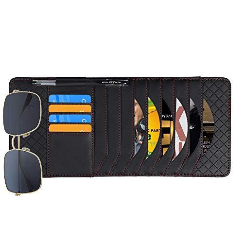 Auto Sonnenblende Organizer Multifunktions Auto CD Tasche Stifthalter, Kartenhalter, Brillenhalter, Schwarz