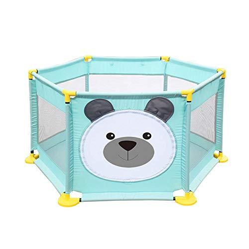Vitila 22 sq ft WelpenbärLaufgitter Spielzeug mit Atmungsaktivem Netz,6 eckig Krabbelbox Baby für Drinnen Oder Draußen |Haushaltsschutzlaufstall