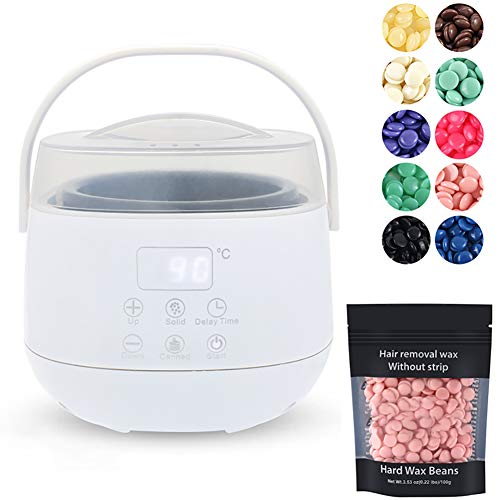 XER Perlen Haarentfernung Wachs Kit mit regelbarer Temperatur und Einbauschränke Thermo Safety Control für Frauen und Männer, Gesicht Painless