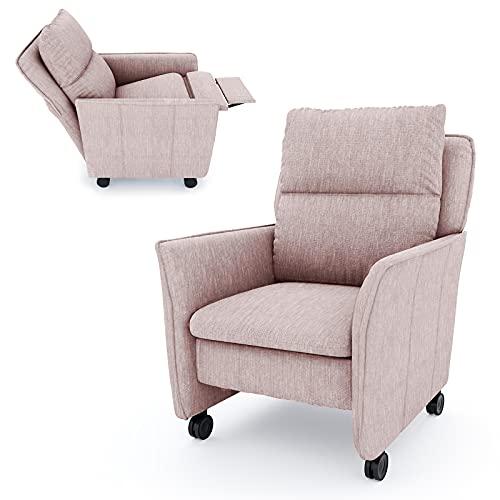 place to be. M19244 - Sillón de relax (tamaño XXL, con función reclinable y función de dormir sobre ruedas suaves), color rosa
