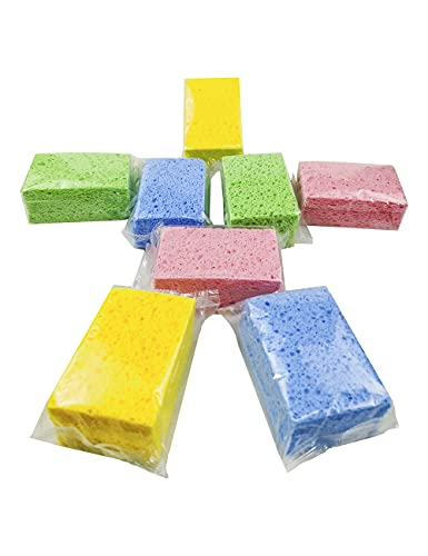 Washing Up Sponges Cleaning Sponges - Pack of 24 100% Natural Dish Sponges Kitchen Scrub Sponges - Super Durable, Cellulose Biodegradable, 4.1 X 2.7 X 0.6 Inches