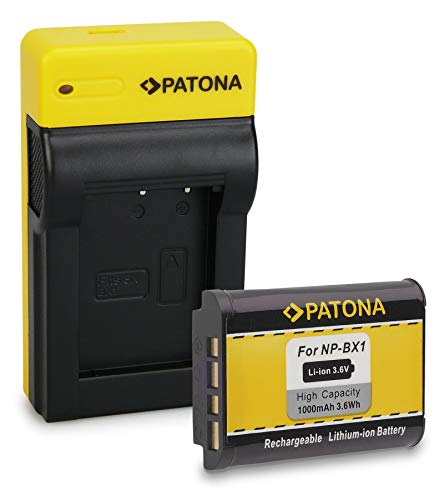 PATONA Premium Bateria NP-BX1 con Estrecho Cargador Compatible con Sony CyberShot DSC-HX300, DSC-HX400, DSC-WX500, DSC-RX1R II, DSC-RX100