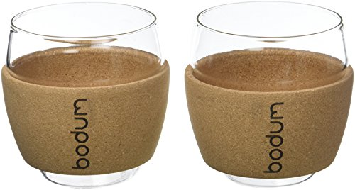 Bodum Pavina Set 2 Gläser, Transparent/Kork, 8 cm, 2-Einheiten