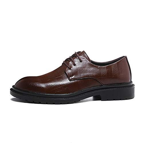 DIBAO Zapatos de Cuero para Hombres Classical Convencional Business Oxford para Hombres Moda Ocio Vestido Zapatos Lace Up Microfibra Cuero Placa Plana Talón Impresionante Resistente Ligero Primavera