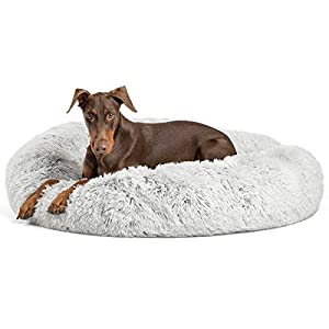 Best Friends by Sheri The Original Calming Donut Cat and Dog Bed in Shag Fur, Extra Large 45″x45″ in Frost, Removable Zipper Shell, Machine Washable (DNT-SHG-FRS-4545-VP)
