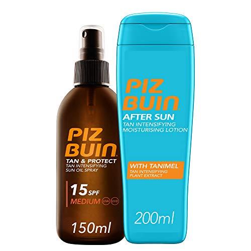 Piz Buin, Tan & Protect Aceite en Spray Acelerador del Bronceado, SPF15, Protección Media,150ml + After Sun Loción Intensificadora del bronceado,200ml