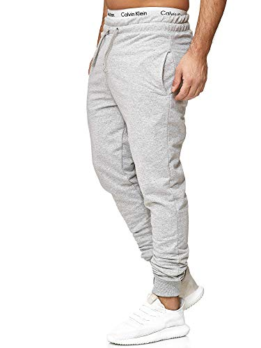 OneRedox Herren | Jogginghose | Trainingshose | Sport Fitness | Gym | Training | Slim Fit | Sweatpants Streifen | Jogging-Hose | Stripe Pants | Modell 5000C Grau M