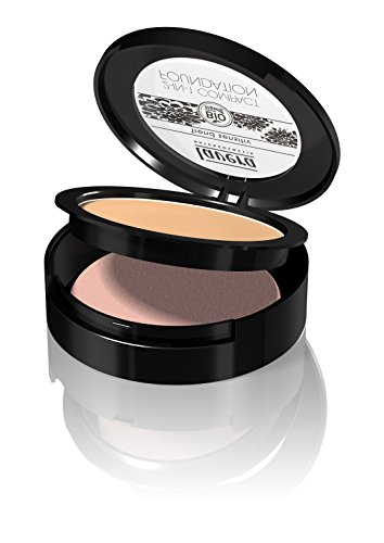 lavera 2in1 Compact Foundation Makeup ∙ Farbe Honey Hautfarbe ∙ ideale Deckkraft ∙ Natural & innovative Make up ✔ vegan ✔ Bio Pflanzenwirkstoffe ✔ Naturkosmetik ✔ Teint Kosmetik 1er Pack (1 x 10 g)