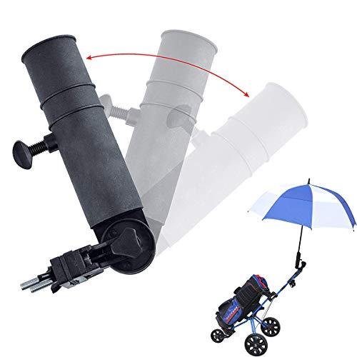 WIKEA Connecteur de parapluie réglable, porte-parapluie pour voiturette de golf, vélo, poussette de bébé, chaise de plage de pêche, fauteuil roulant avec cadres ronds (De base)