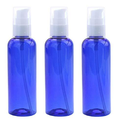 3pcs 100ml 3.4oz vide bouteille de presse bleue en plastique réutilisable avec tête de pompe blanche lotion portable essence lait hydratant pot support de flacon distributeur de produit émulsion