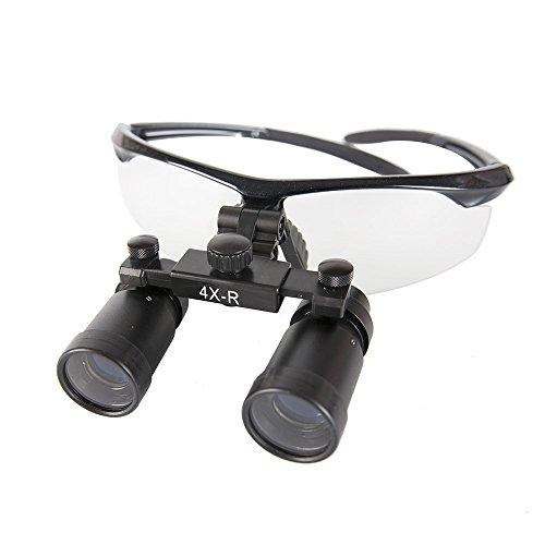 GoDen 高倍率拡大鏡 メガネ式拡大鏡 双眼ルーペ 虫眼鏡 4.0倍/5.0倍/6.0倍 (ブラック, 4倍)