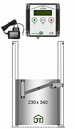 JOSTechnik automatische Hühnerklappe HK2 mit Steckernetzteil Hühnerklappe mit Selbstverriegelung 230x340 mm