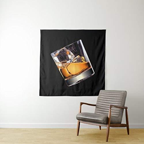 Tapiz de pared cuadrado Whisky On The Rocks, para colgar en la pared, gran tapiz psicodélico, decoración de dormitorio, sala de estar, dormitorio de 149 x 231 cm