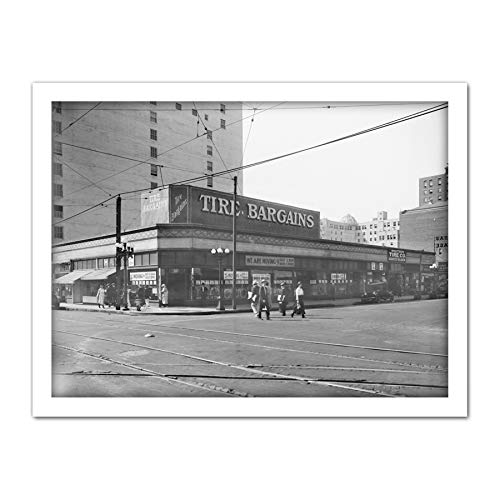 Western Tire Store 6th Street Los Angeles 1920 Artwork Framed Wall Art Print 18X24 Inch Oeste Calle Pared