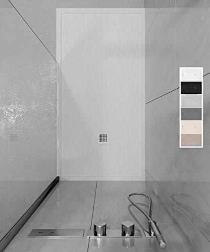 VAROBATH - Plato de ducha de Resina ABSOLUTE - Color Blanco - Carga Mineral, textura pizarra, antideslizante y antibacteriano. Fabricado en España. (80x150)
