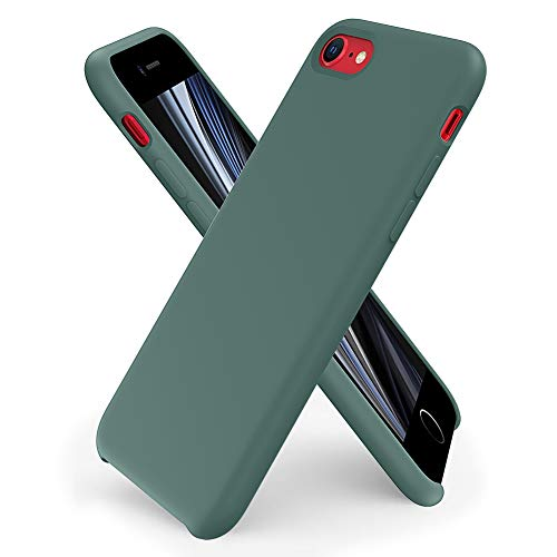 ORNARTO Custodia in Silicone Liquido per iPhone SE(2020), iPhone 7/8 Cover Sottile in Silicone Liquido in Gomma Gel Morbida per iPhone 7/8/ SE(2020) 4,7 Pollici-Verde Pineta