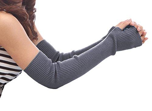 NOVAWO Frauen Winter lange Halbhandschuhe gestrickt Armstulpen, Grau