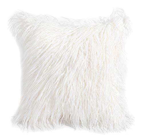 クッションカバー ロングファー フェイクファー ホワイト 45×45cm 正方形 ファークッションカバー ボリューミー ふわふわ もこもこ おしゃれ 可愛い