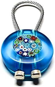 Llavero Murano de cristal de Murano, con Murrina Veneciana y cadena de acero, hecho a mano por los maestros Vetrai Muranesi – Fabricado en Italia