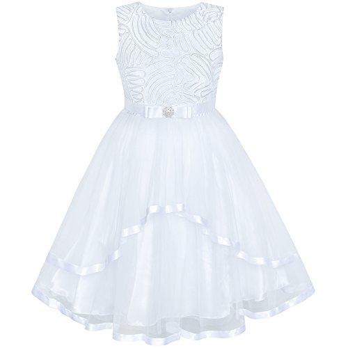 Sunny Fashion Vestito Bambina Fiore Bianca Nozze Festa Damigella d'Onore 12 Anni