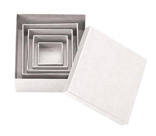 GLOREX Juego de 5 cajas cuadradas de cartón, color natural, 14 x 14 x 5,3 cm
