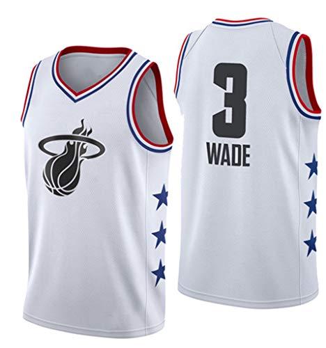 Hombres Jerseys, Heat # 3 Wade All-Star De Baloncesto De Los Jerseys, Transpirable Usable para Hombre De Las Camisetas Ropa De Baloncesto,Blanco,L(170~175cm)