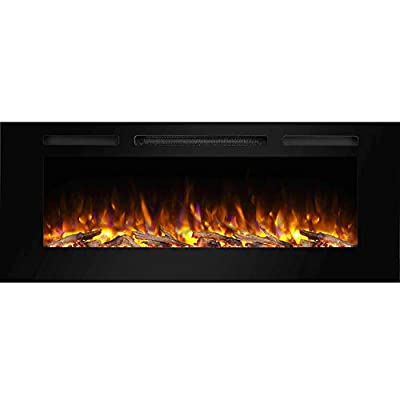 PuraFlame Alice 50 Inches Recessed Electric Fireplace, Wall Mounted for 2 X 6 Stud, Log Set & Crystal, 1500W Heater, Black