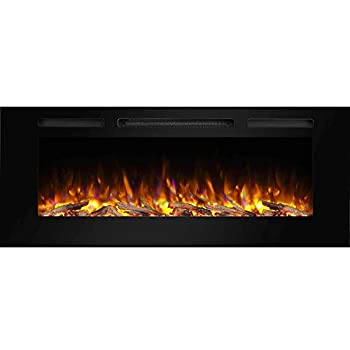 PuraFlame Alice 50 Inches Recessed Electric Fireplace Flush Mounted for 2 X 6 Stud Log Set & Crystal 1500W Heater Black
