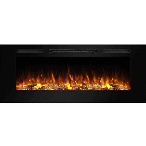 "PuraFlame Alice 48"" Recessed Electric Fireplace, Wall Mounted for 2 X 6 Stud, Log Set & Crystal, 1500W Heater, Black"