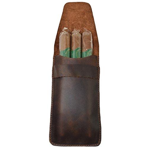 Hide & Drink - Funda de piel rústica para tres cigarros de 50 anillos, hecha a mano, color marrón