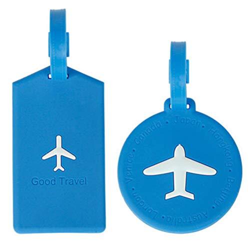 Fovely Etiqueta de equipaje de silicona, 2 unidades de etiquetas de equipaje de viaje para maletas, nombre, tarjeta de identificación, etiquetas de viaje y accesorios