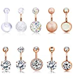 Finrezio 10 PCS 14G Surgical Steel Belly Button Ring Navel Ear Rings CZ Body Piercing Jewelry 10 mm/6 mm Bar (Rose Gold Tone, 6)